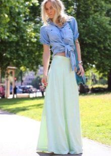 Длинная хлопковая юбка полусолнце