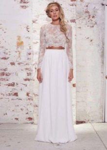 Длинная белая юбка полусолнце с кружевным кроп-топом