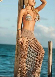 пляжная юбка-сетка в пол