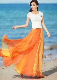 юбка в пол градиентной расцветки
