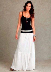 белая юбка в пол из хлопка