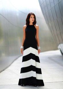 черно-белая юбка макси в поперечную полоску