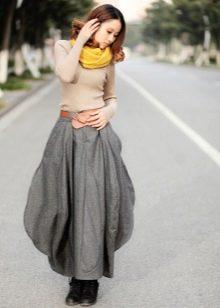 длинная юбка-баллон