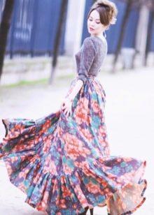 летящая юбка с цветочным принтом