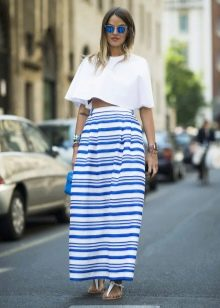 юбка-макси с полосками разной ширины