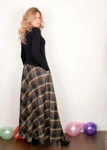 клетчатая длинная юбка