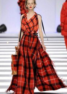 пышная юбка-шотландка в пол