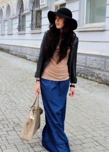 синяя юбка в пол с воланами