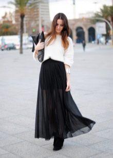 черная юбка в пол из шифона
