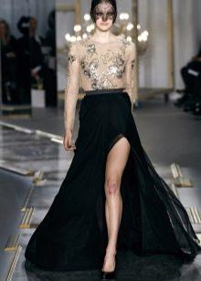 длинная черная юбка с разрезом