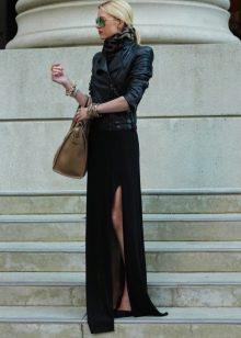 черная юбка в пол с разрезом