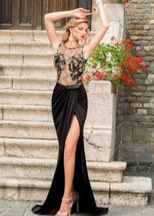 юбка с разрезом в вечернем образе
