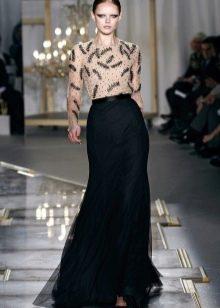 изысканный образ с черной юбкой-макси