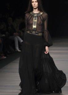 шифоновая длинная юбка с воланами