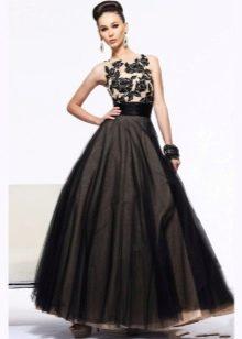 пышная черная юбка из органзы