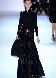бархатная юбка-макси для зимы