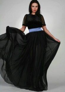 черная летящая юбка в пол