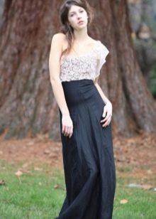 длинная черная юбка с кружевным топом