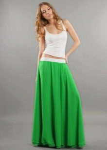 однотонная длинная летняя юбка
