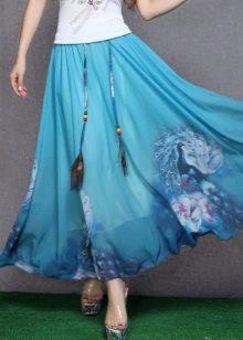 длинная летняя юбка с павлиньими перьями
