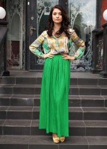 зеленая длинная летняя юбка