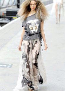 черно-белая длинная летняя юбка из шифона