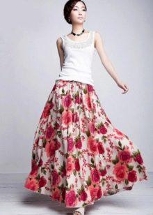 длинная летняя юбка с крупным рисунком