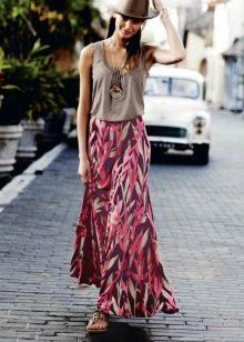длинная летняя юбка с рисунком