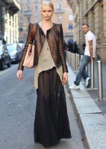 черная длинная летняя юбка из шифона