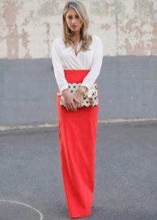 коралловая длинная  юбка