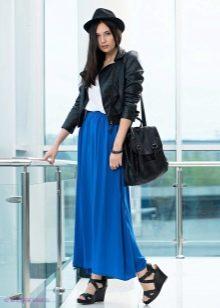 синяя юбка-макси