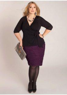 драпированная юбка-карандаш для полных женщин