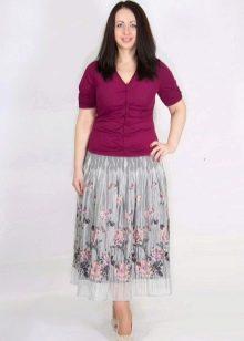 серая шифоновая юбка для полных женщин