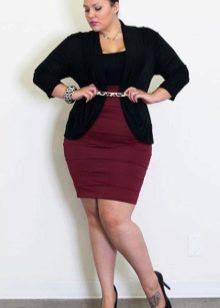 юбка-карандаш с завышенной талией для полных женщин
