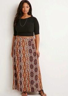 юбка-макси с принтом для полных женщин