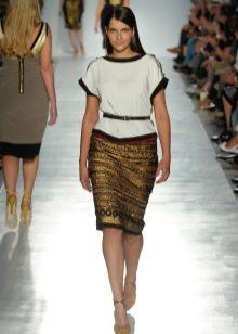 юбка-карандаш из парчи для полных женщин от кутюр