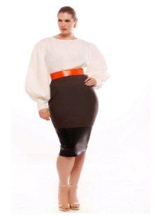 юбка-карандаш из комбинированной ткани для полных женщин