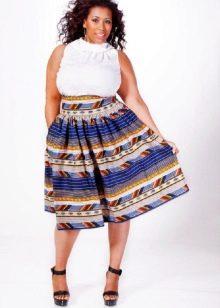 юбка-солнце в полоску для полных женщин