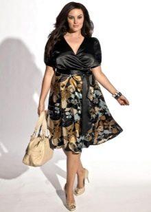 расклешенная юбка из шелка для полных женщин