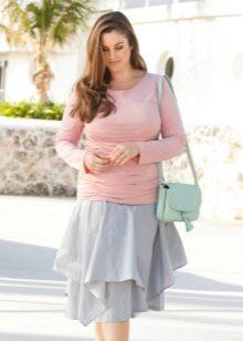 летняя многослойная юбка для полных