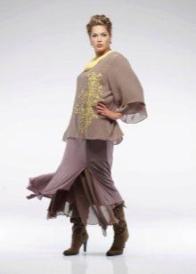 эффектная многослойная юбка для полных