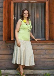 белая юбка-солнце для полных женщин