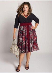летняя юбка средней длины для полных женщин