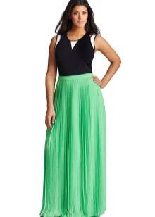 юбка-макси цвета мяты для полных женщин
