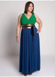синяя юбка-макси с широким поясом для полных женщин