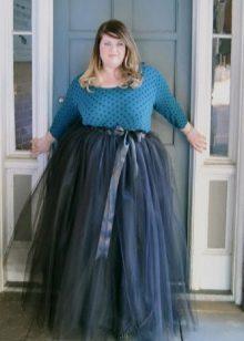 юбка-макси из органзы для полных женщин