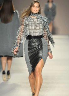 комбинированная юбка-миди для полных женщин