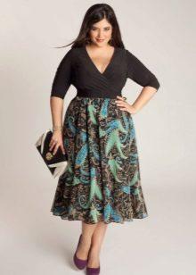 юбка-миди с растительным узором для полных женщин