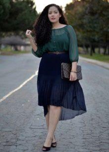 ассиметричная летняя юбка для полных женщин