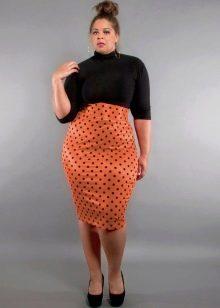 юбка-карандаш в горошек для полных женщин